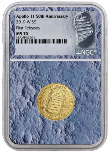 2019-W Apollo 11 50th Anniversary $5 Gold Commemorative Coin NGC MS70 FR With Apollo 11 Mission Patch Moon Core Holder