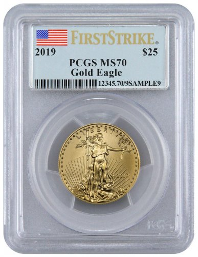 2019 1/2 oz Gold American Eagle $25 PCGS MS70 FS Flag Label