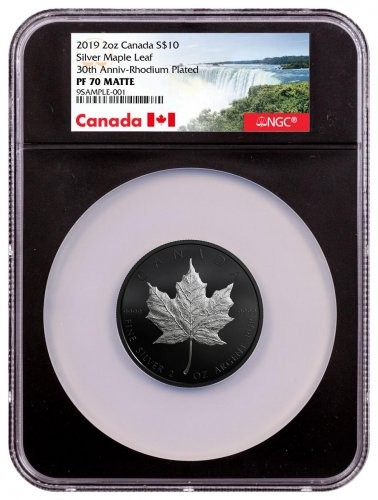 2019 Canada 2 oz Silver Maple Leaf Black Proof $10 Coin NGC PF70 Black Core Holder Exclusive Canada Label