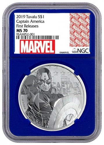 2019 Tuvalu Captain America 1 oz Silver Marvel Series $1 Coin NGC MS70 FR Blue Core Holder Exclusive Marvel Label