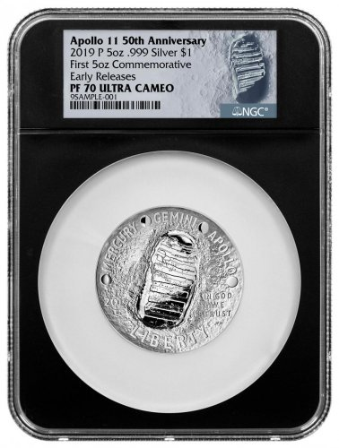 2019-P Apollo 11 50th Anniversary Commemorative 5 oz. Silver Dollar Proof Coin NGC PF70 ER Black Core Holder Moon Label