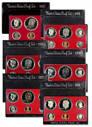 6-Piece Set - 1973-1978-S U.S. Proof Set Black Box Collection