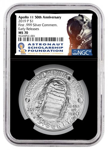 2019-P Apollo 11 50th Anniversary Commemorative Silver Dollar Coin NGC MS70 ER Black Core Holder Astronaut Scholarship Foundation Label