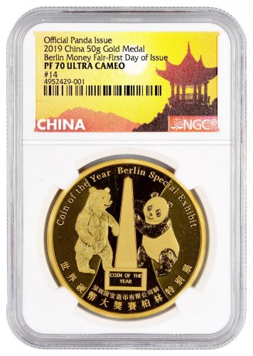 2019 China Berlin World Money Fair 1 oz Gold Proof Medal Scarce and Unique Coin Division NGC PF70 UC FDI