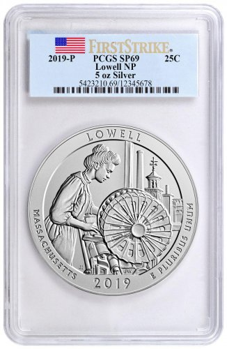 2019 Lowell National Historic Park 5 oz. Silver America the Beautiful Specimen Coin PCGS SP69 FS