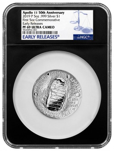 2019-P US Apollo 11 50th Anniversary Commemorative 5 oz. Silver Dollar Proof Coin NGC PF69 ER Black Core Holder