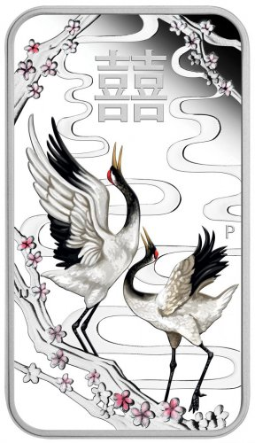 2019 Tuvalu Chinese Wedding Cranes Rectangular 1 oz Silver Colorized Proof $1 Bar GEM Proof