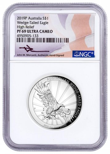 2019-P Australia 1 oz High Relief Silver Wedge-Tailed Eagle Proof $1 Coin NGC PF69 UC Mercanti Signed Flag Label