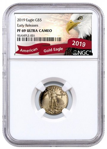 2019-W 1/10 oz Gold American Eagle Proof $5 NGC PF69 UC ER Exclusive Eagle Label