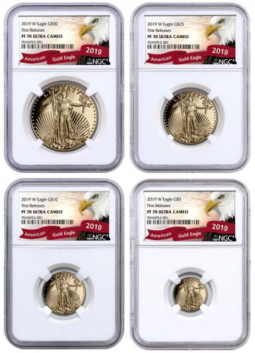 2019-W Gold American Eagle 4-Coin Set Proof NGC PF70 UC FR Exclusive Eagle Label