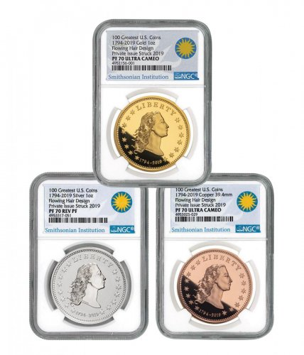 1794-2019 Smithsonian - America's First Silver Dollar 3-Piece Set 1 oz Gold + Silver + Copper Proof Medal Scarce and Unique Coin Division NGC PF70 UC
