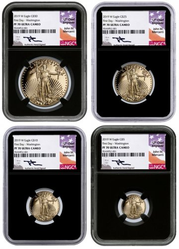 2019-W Gold American Eagle 4-Coin Set Proof Scarce and Unique Coin Division NGC PF70 First Day of Issue - Washington, D.C. Black Core Holder Mercanti Signed Label