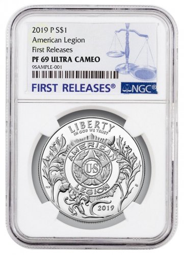 2019-P American Legion Commemorative Silver Dollar Proof Coin NGC PF69 UC FR