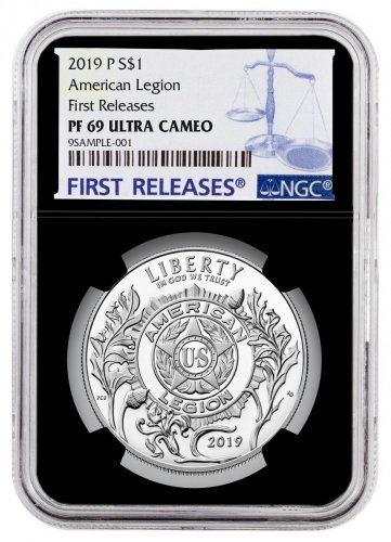 2019-P American Legion Commemorative Silver Dollar Proof Coin NGC PF69 UC FR Black Core Holder