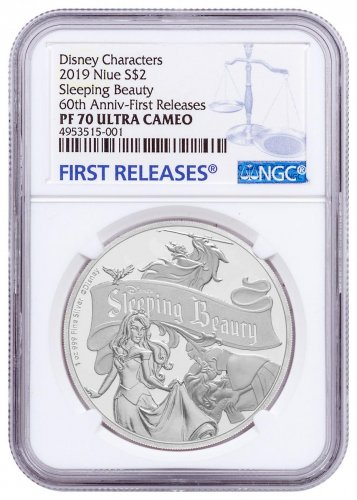 2019 Niue Disney Classics - Sleeping Beauty 60th Anniversary 1 oz Silver Proof $2 Coin NGC PF70 UC FR