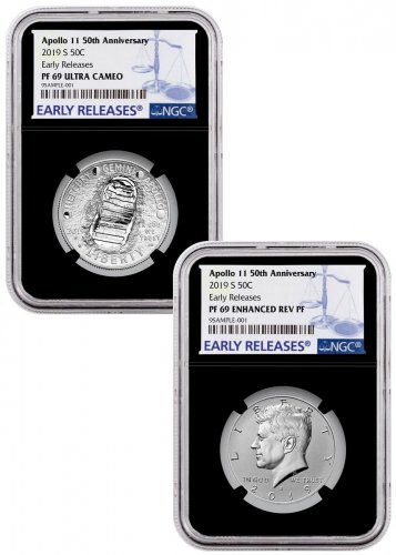 2019-S US Apollo 11 50th Anniversary 2-Coin Commemorative Clad Half Dollar Proof + Enhanced Reverse Proof Set NGC PF69 ER Black Core Holder