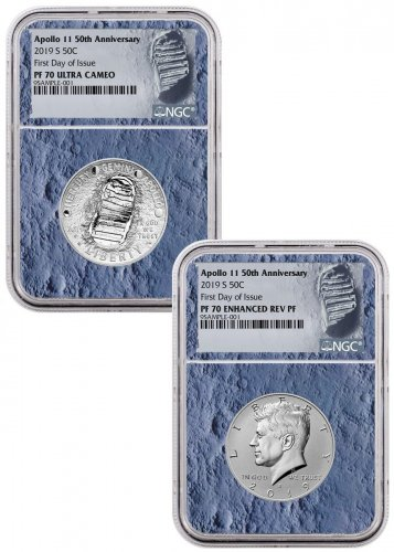 2019-S US Apollo 11 50th Anniversary 2-Coin Commemorative Clad Half Dollar Proof + Enhanced Reverse Proof Set NGC PF70 FDI With Apollo 11 Mission Patch Moon Core Holder