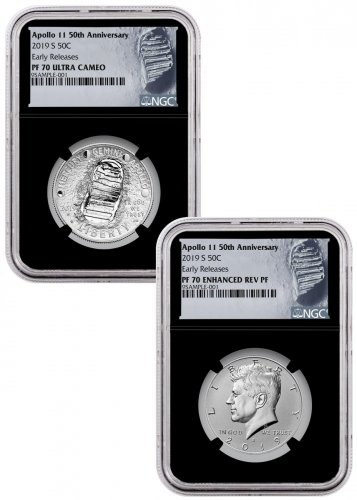 2019-S US Apollo 11 50th Anniversary 2-Coin Commemorative Clad Half Dollar Proof + Enhanced Reverse Proof Set NGC PF70 ER Black Core Holder Moon Label