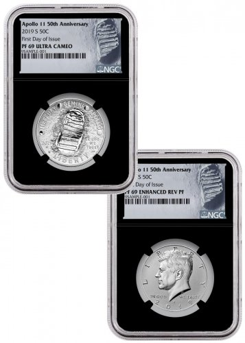2019-S US Apollo 11 50th Anniversary 2-Coin Commemorative Clad Half Dollar Proof + Enhanced Reverse Proof Set NGC PF69 FDI Black Core Holder Moon Label