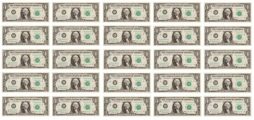 Set of 25 - 1963-B Barr Notes Consecutive Serial Numbers GEM Unc