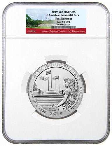 2019 American Memorial Park 5 oz. Silver America the Beautiful Coin NGC MS69 DPL FR