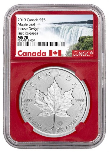 2019 Canada 1 oz Silver Maple Leaf - Incuse $5 Coin NGC MS70 FR Red Core Holder Exclusive Canada Label