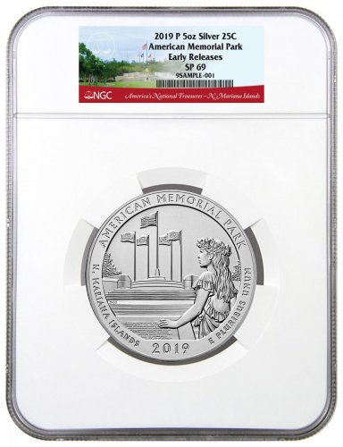 2019-P American Memorial Park 5 oz. Silver America the Beautiful Specimen Coin NGC SP69 ER