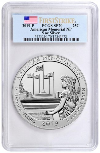 2019-P American Memorial Park 5 oz. Silver America the Beautiful Specimen Coin PCGS SP70 FS Flag Label