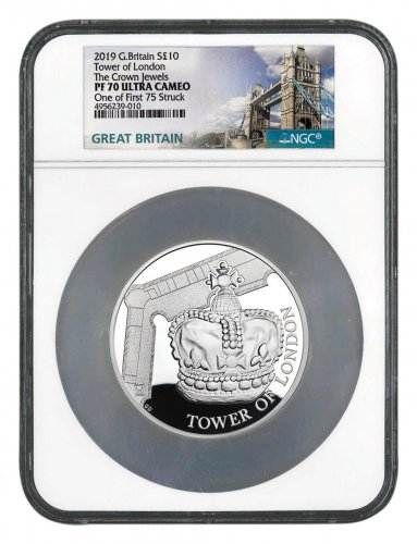 2019 Great Britain Tower of London - Crown Jewels 5 oz Silver Proof £10 Coin Scarce and Unique Coin Division NGC PF70 UC One of First 75 Struck