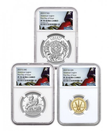 2019-P+S+W American Legion 100th Anniversary 3-Coin Commemorative Proof Set NGC PF70 UC FDI - Liberty Flag Set
