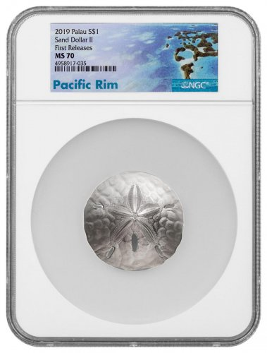2019 Palau Sand Dollar 1 oz Silver $1 Coin NGC MS70 FR Exclusive Pacific Rim Label