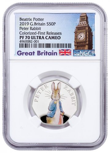 2019 Great Britain Beatrix Potter - Peter Rabbit 8 g Silver Colorized Proof 50p Coin NGC PF70 UC FR Exclusive Big Ben Label