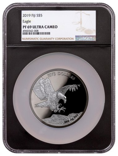 2019 Fiji Blackened Eagle 5 oz Ruthenium Plated Proof $5 Coin NGC PF69 Black Core Holder
