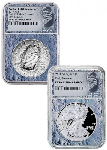 2019-P+W US Apollo 11 50th Anniversary $1 Coin + Silver Eagle 2-Coin Set NGC PF70 ER Moon Core Holder Moon Label