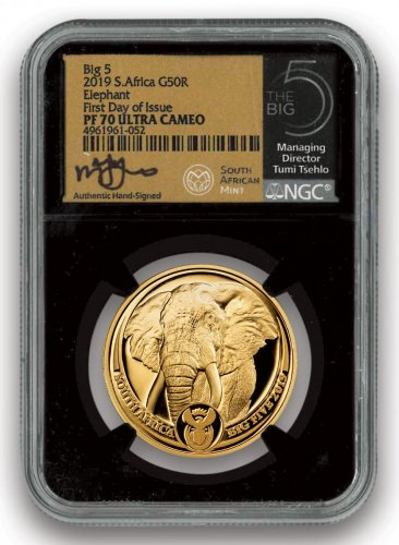 2019 South Africa The Big 5 - Elephant 1 oz Gold Proof Scarce and Unique Coin Division NGC PF70 UC FDI Tumi Signed Label