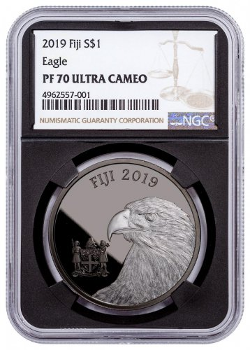 2019 Fiji Blackened Eagle 1 oz Ruthenium Plated Silver Proof $1 Coin NGC PF70 Black Core Holder