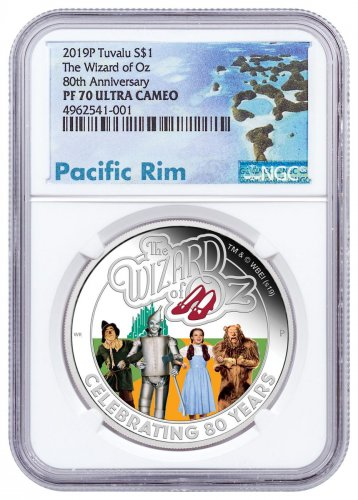 2019-P Tuvalu The Wizard of Oz 1 oz Silver Colorized Proof $1 Coin NGC PF70 UC Exclusive Pacific Rim Label