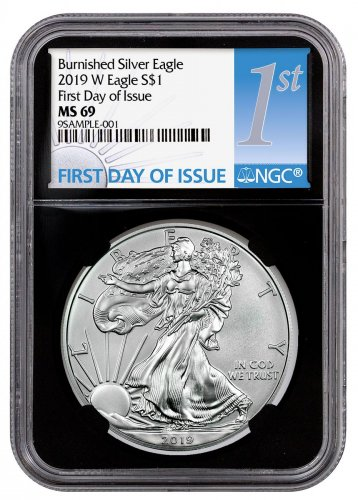 2019-W Burnished American Silver Eagle NGC MS69 FDI Black Core Holder