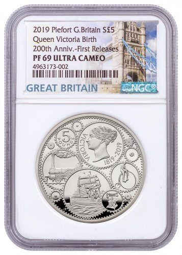 2019 Great Britain 200 Year Commemorative - Queen Victoria 1.82 oz Silver Proof £5 Coin Piedfort NGC PF69 UC FR With COA & Storybook Tower Label