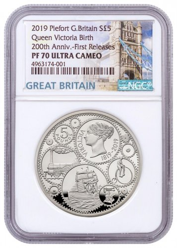 2019 Great Britain 200 Year Commemorative - Queen Victoria 1.82 oz Silver Proof £5 Coin Piedfort NGC PF70 UC FR With COA & Storybook Tower Label
