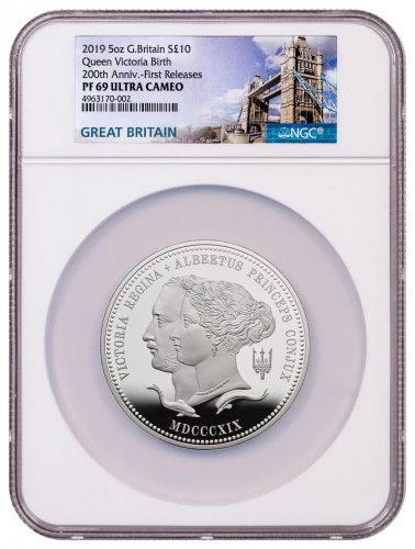 2019 Great Britain 200 Year Commemorative - Queen Victoria 5 oz Silver Proof £10 Coin NGC PF69 UC FR With COA & Storybook Tower Label