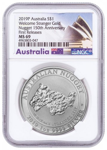 2019-P Australia 1 oz Silver Welcome Stranger Nugget $1 Coin NGC MS69 FR Opera House Label