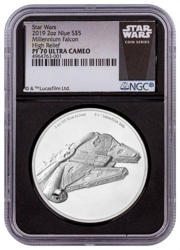 2019 Niue Star Wars - Millennium Falcon Ultra High Relief 2 oz Silver Proof $5 Coin NGC PF70 UC Black Core Holder Exclusive Star Wars Label