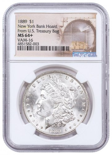1889 Morgan Silver Dollar From the New York Bank Hoard NGC MS64+ VAM-16