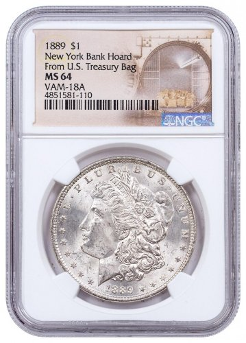 1889 Morgan Silver Dollar $1 From the New York Bank Hoard NGC MS64 VAM-18A