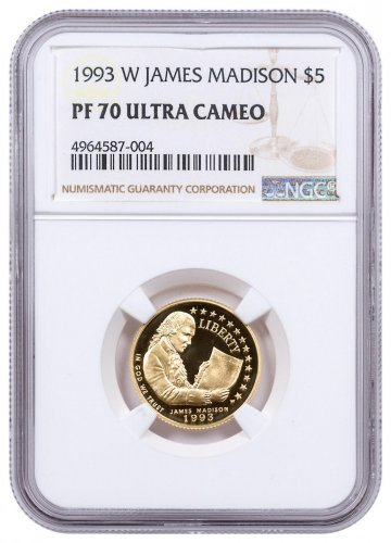 1993-W James Madison (Bill of Rights) $5 Gold Commemorative Proof NGC PF70 UC
