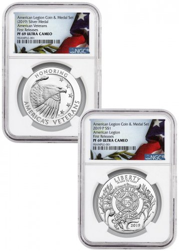 2-Piece Set - 2019-P American Legion 100th Anniversary Commemorative Silver Dollar and Medal NGC PF69 UC FR Liberty Flag Label