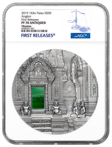 2019 Palau Tiffany Art - Angkor Wat 1 Kilo Silver Antiqued Proof $50 Coin NGC PF70 FR