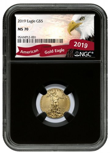 2019 1/10 oz Gold American Eagle $5 NGC MS70 Black Core Holder Exclusive Eagle Label