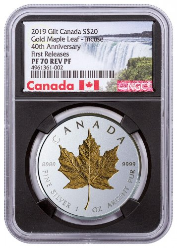 2019 Canada 1 oz Silver Maple Leaf - Incuse Gilt Reverse Proof $20 Coin NGC PF70 FR Black Core Holder Exclusive Canada Label